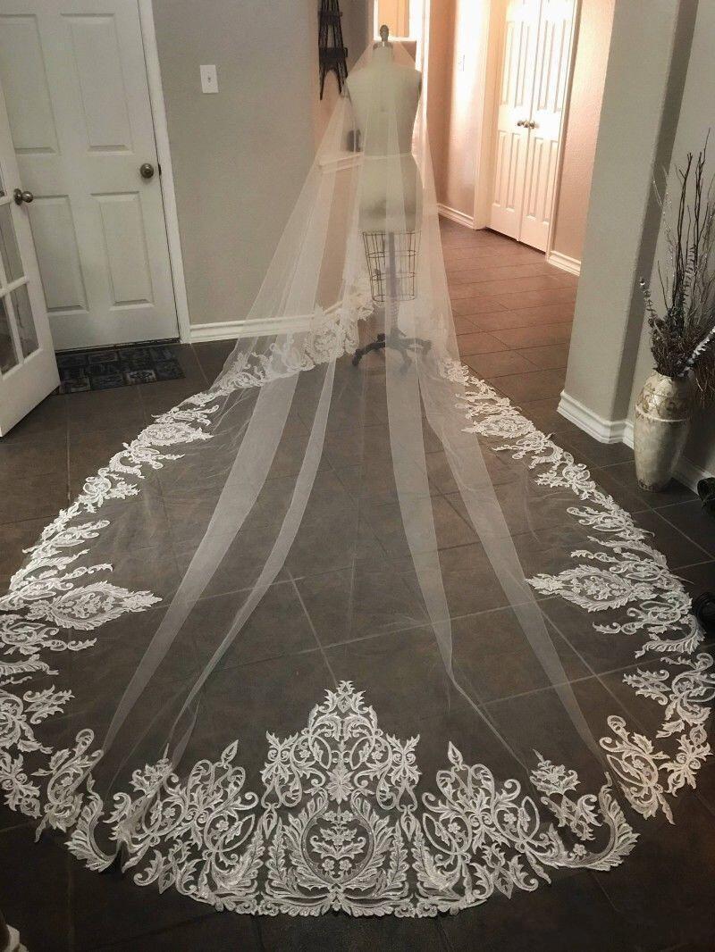 2020 Elegant Bridal Veils White Ivory Lace 3 M *1.5 M Cathedral Length Lace Appliqued Edge Bridal Wedding Veil Cover Face