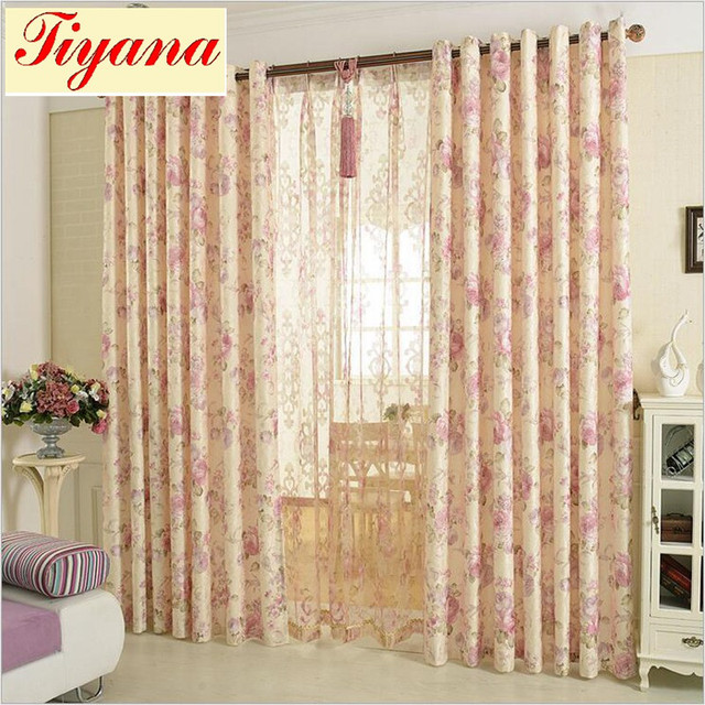 Wedding Blackout Curtains Fl Tulle Curtain For Living Room Door Decoration Pink Window Treatment Panel Hot