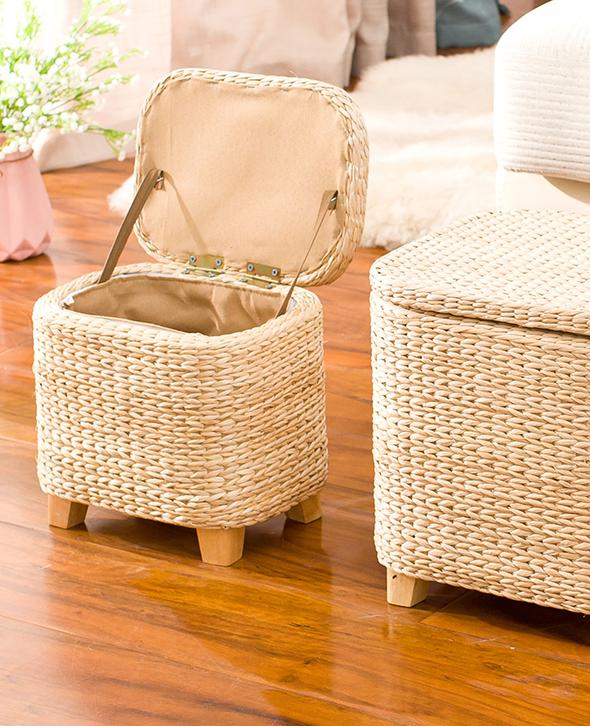 Awe Inspiring Us 34 15 32 Off Rattan Straw Storage Stool Ottoman Foot Stool Rectangle Hand Knit Floor Footstool For Living Room Bedroom And Under Desk In Stools Gamerscity Chair Design For Home Gamerscityorg