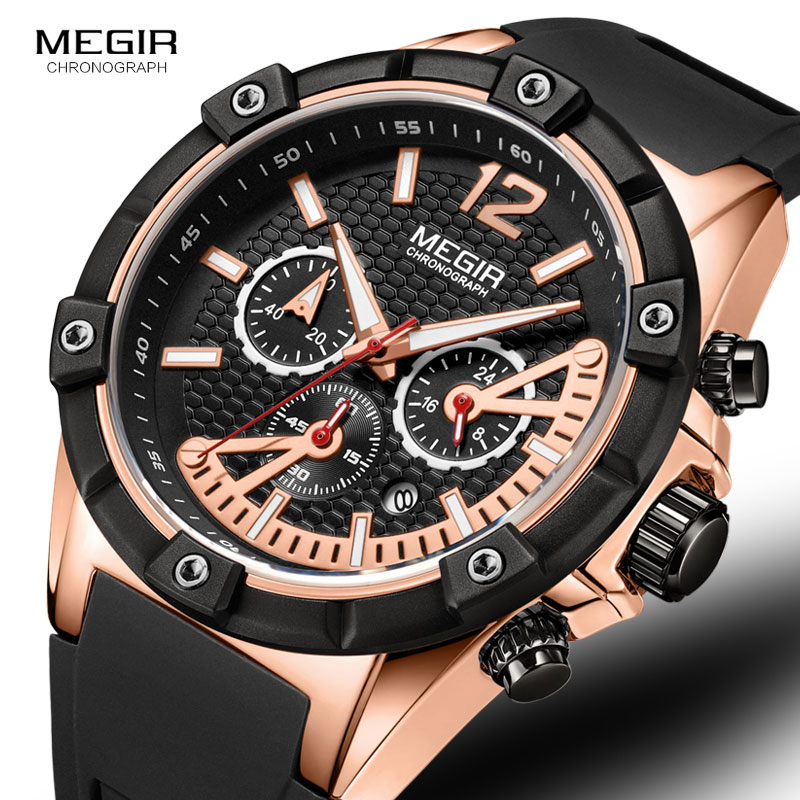 Mens Watches Luxury Top Brand MEGIR Silicone Quartz Sport Casual Design Waterproof Watch Relogio Masculino megir b