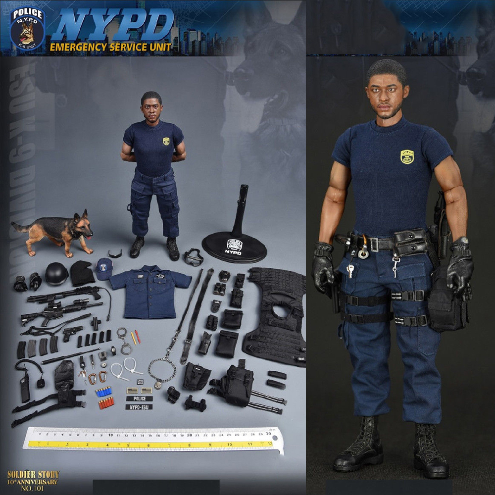 Toys & Hobbies 1/6 Collectible Full Set Male Soldier Emergency Service Unit Ss101 Nypd Esu K-9 Division Police K9 Unit Figure With Dog Model Neither Too Hard Nor Too Soft