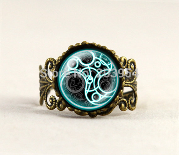 1pcslot UK doctor dr who ring brass glass rings mens womens Fashion