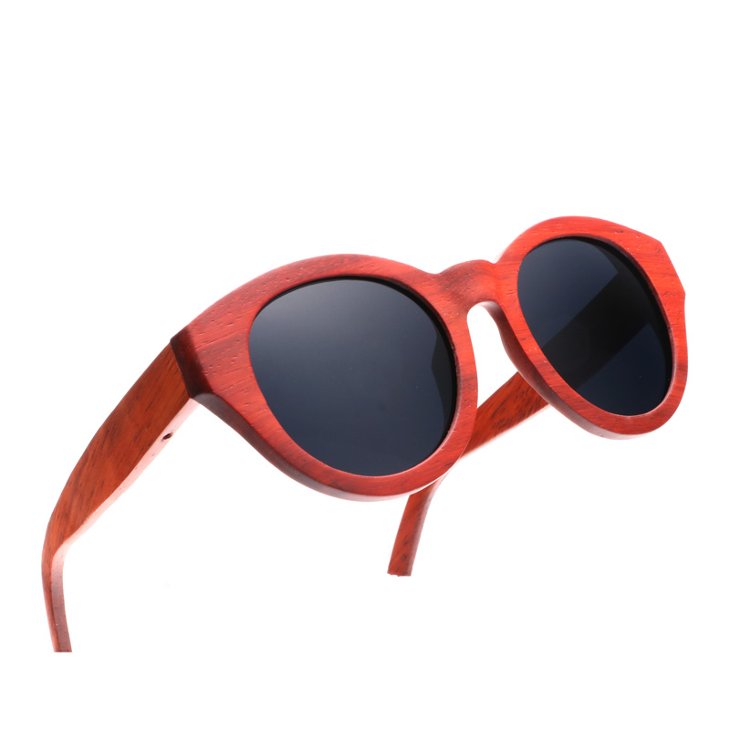 Ablibi Bamboo Wooden Red Polarized Sunglasses for Womens Cat's Eyes Designer Unique Wood Sunglasses in Wood Box