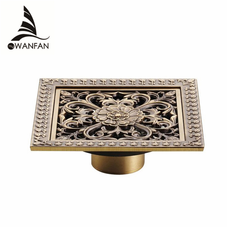 Shower Drains 12*12cm Square Bath Drains Strainer Hair Antique Brass Art Carved Bathroom Floor Drain Waste Grate Drain HJ-8701T euro square antique brass art carved flower bathroom sanitary floor drain waste grate