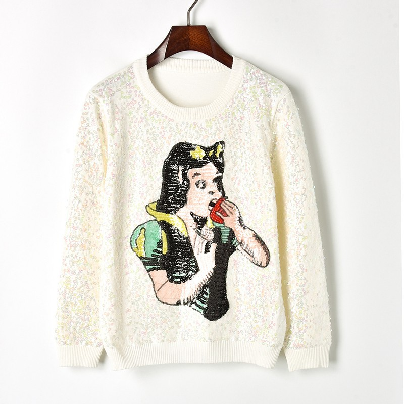 1bdfb410d75 2018 Autumn Winter Women Sweater with Sequins Snow White Pattern Knit Sweater  Long Sleeve Round Neck Beading Fashion Pullovers