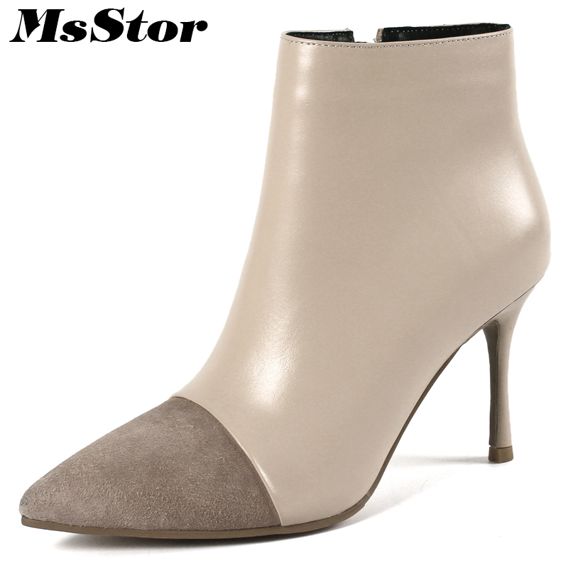 цена на Msstor Women Boots Pointed Toe Thin Heels Ankle Boots For Woman Elegant Genuine Leather Zipper High Heel Boot Shoes For Girl