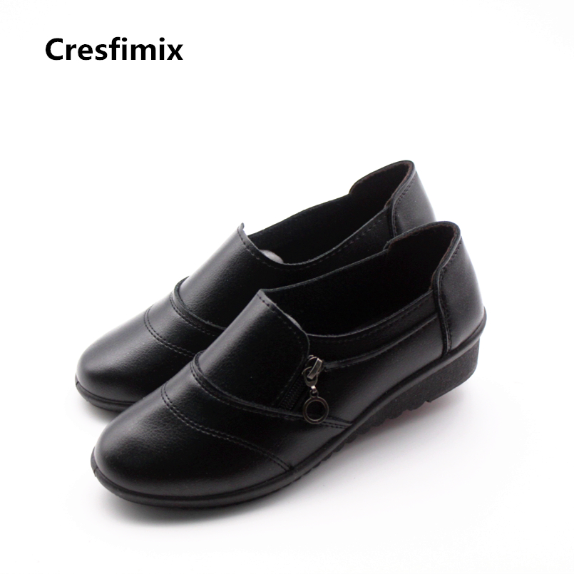 Cresfimix sapatos femininas women casual soft pu leather flat shoes with side zipper lady cute spring & summer slip on shoes cresfimix women casual breathable soft shoes female cute spring