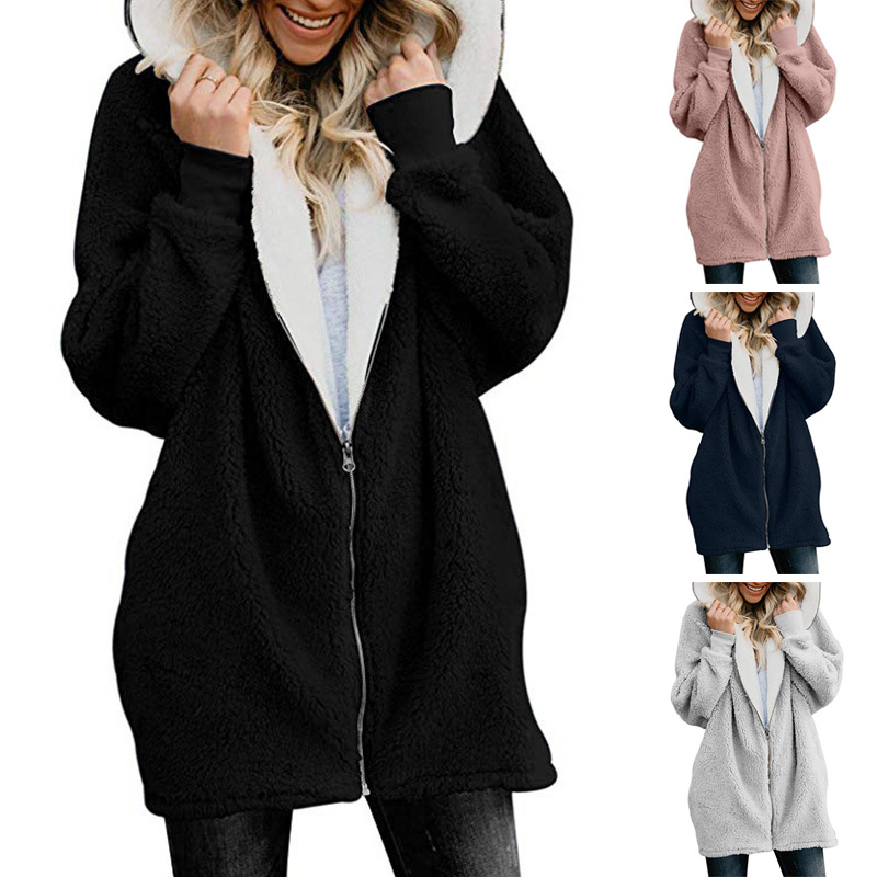 Long Coat Hoodies Tops Jacket Zipper Female Winter Women Plus-Size Feminino Casual Solid