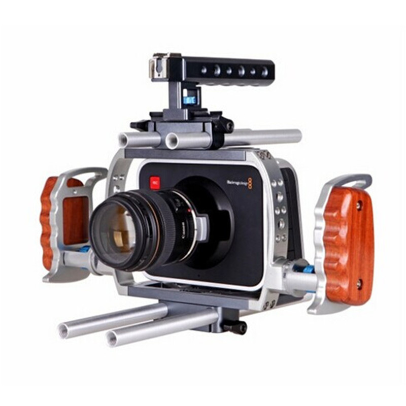 Wondlan BlackMagic Rig BMCC BMPCC Rig Cage w/ Top Handle Baseplate camera support rig Aluminum case lanparte luxury bmcc 03 top handle cage v mount vb 150 battery quick release shoulder support baseplate a b follow focus