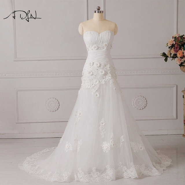 ADLN Corset Mermaid Wedding Dress with Flowers Sweetheart Sleeveless Real  Photo High Quality Lace Bridal Gown Plus Size b3b0e661184b