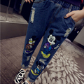 In the summer of 2016 women jeans Embroidery rummaged through grinding white torn do old washing cotton pants mickey pattern