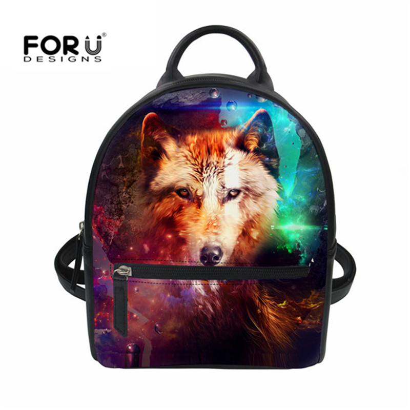 FORUDESIGNS Cool Wolf Women Backpack Pu Leather Print School Backpacks For Girl Fashion Lady Female Travel Mini Shoulder Daypack