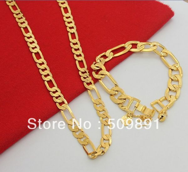 Se686 Fashion 24 Carat Gold Flat Chain Necklace Bracelet Jewelry Sets Top Quality For Women Men Wedding Anniversary Gifts In From