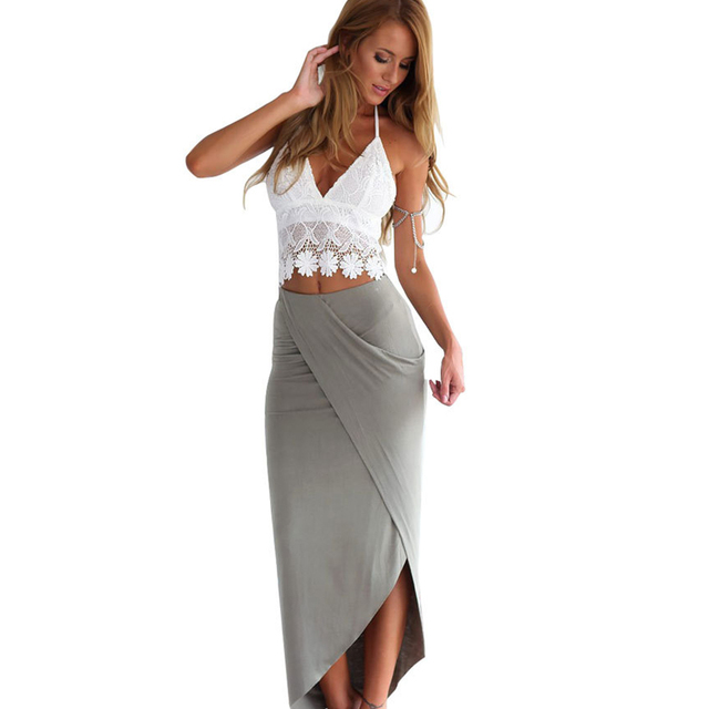 b9a3cbfacd V-Neck White Lace Crop Top Long Gray Skirts Set Womens Backless Patchwork  Summer Two Piece Set Women Bodycon Party Tracksuits