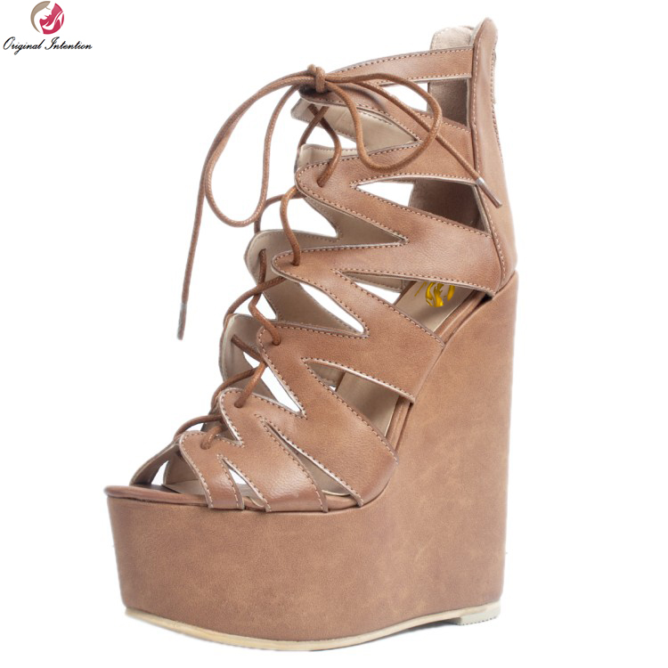 Original Intention New Fashion Women Sandals Nice Platform Peep Toe Wedges Sandals Popular Brown Shoes Woman Plus US Size 4-15 phyanic 2017 gladiator sandals gold silver shoes woman summer platform wedges glitters creepers casual women shoes phy3323