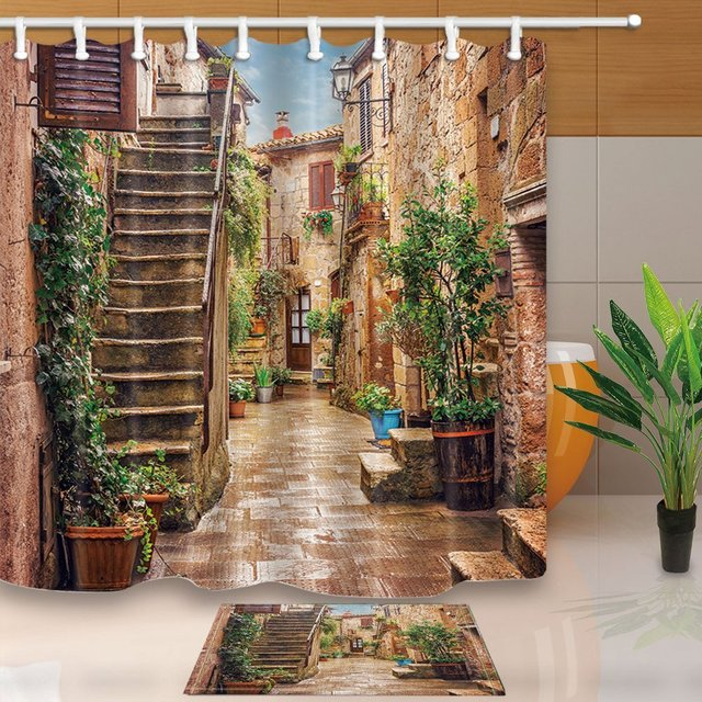 Tuscan Decor Collection Landscape Of Tuscany Waterproof Polyester Fabric Shower Curtain Set Non Slip Floor