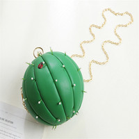 New watermelon Handbags Handmade Cactus Package Styling Retro Pearl Beaded Package Chain Shoulder Round package Package