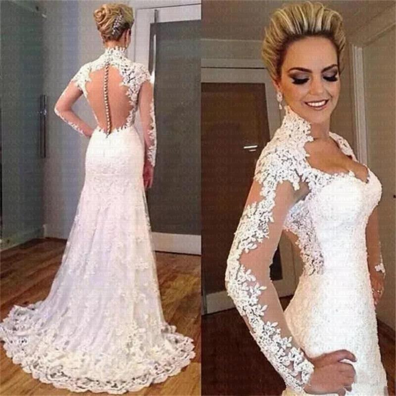 2019 Spring Illusion Vestido De Noiva Mermaid Lace Wedding Dress Plus Size Bridal Gowns
