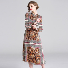 PADEGAO Runway Dress 2019 Spring French Fairy High-Quality Womens Collar Dresses Printed Leopard Med-Length Temperament