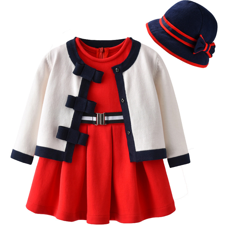 New 2018 Spring Baby Girl Clothing sets ( White Knit Cardigan + Red Dress + Hat ) Princess Infant Clothes Baby set for girls new born baby girl clothes leopard 3pcs suit rompers tutu skirt dress headband hat fashion kids infant clothing sets