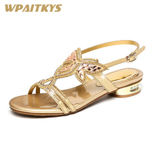 2018 Purple Gold Two Colors Available Women's Sandals Sweet Leather Rhinestone Shoes Women Party Low-heeled Diamond Sandals clear panel two part heeled sandals