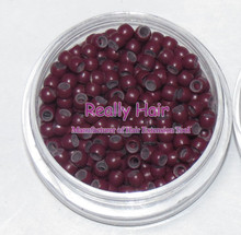1000pcs/bottle 2.9x1.6x2.0mm Burgundy Rings with Silicone for Nano beads