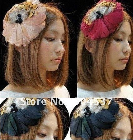 Free shipping!! Promotion,2011 NEW handmade Super beautiful feather headband, 5 colors, hair accessories, hair hoop, 10pcs/lot,
