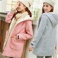 Мода капюшоном шерстяное пальто теплый тонкий сладкий длинная шерсть шерстяные Осень зима Новое пальто Женщин для Женщин Пальто