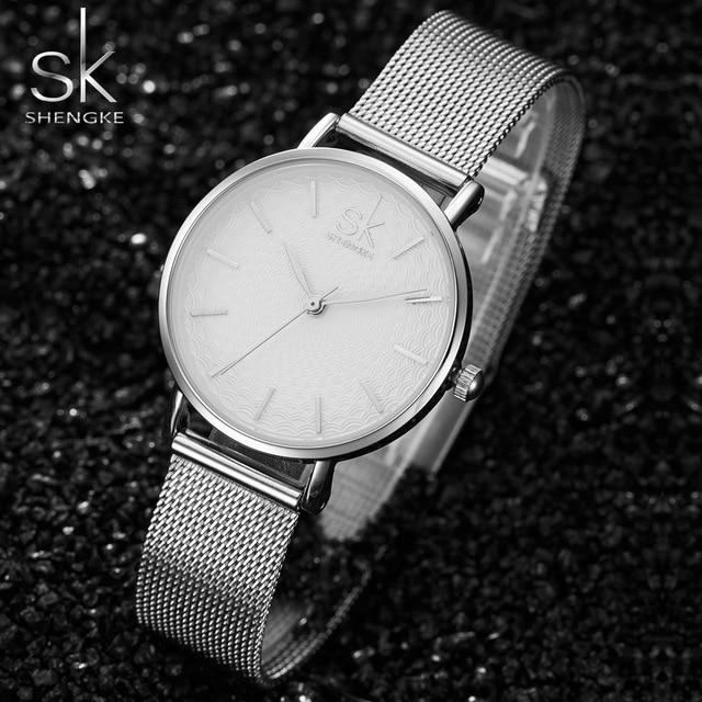 SK Super Mince Argent Maille En Acier Inoxydable Montres Femmes Top Marque De Luxe Casual Horloge Dames Montre-Bracelet Dame Relogio Feminino 3
