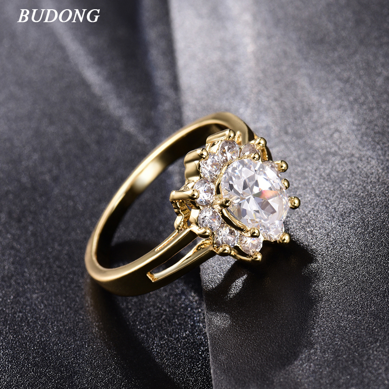 2017 BUDONG Fashion Flower Ladies Finger Band Gold Color Ring for Women Oval Crystal CZ Zircon Engagement Jewelry