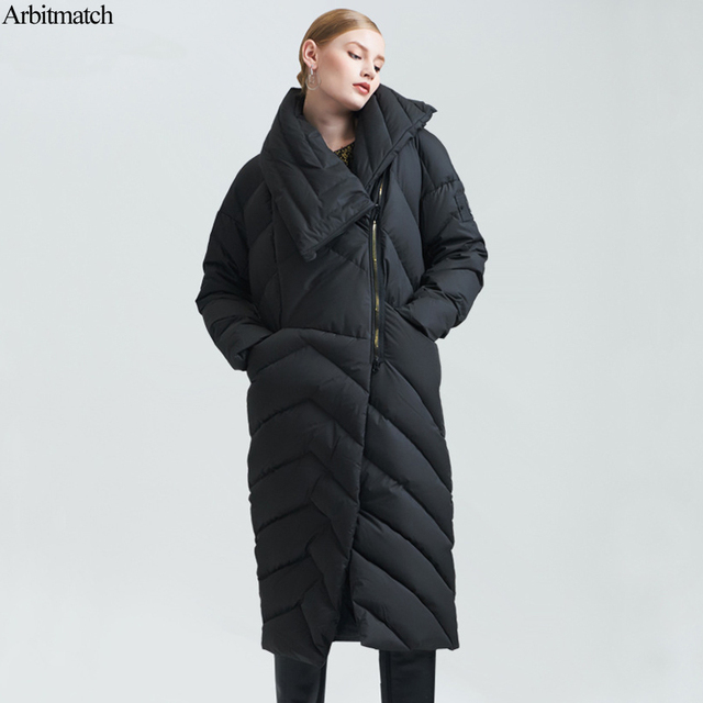 7ca84ace4fad Arbitmatch Streewear Winter Jacket Women Down Coats Long Asymmetric Length  Full Sleeve Zipper Down Parka Female Warm Outwear