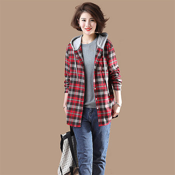 Plaid Jacket Women 2019 Spring Popular New Medium Long Retro Coat Autumn Single-Breasted Female Large Size Hooded Jacket WIN909