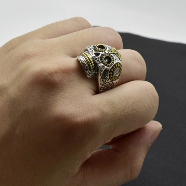 Luxury Real 925 Sterling Silver Skull Ring Men Vintage Punk Rock Cross Gold Big Heavy Mens Gothic Rings Bague Homme Biker