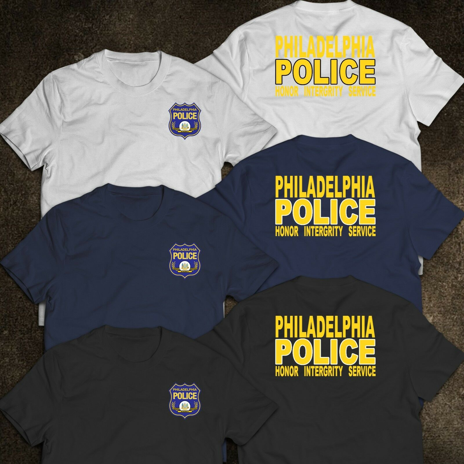 2019 Funny New Philadelphia Police Department United States Honor Integrity Service T-Shirt Double Side Unisex Tee
