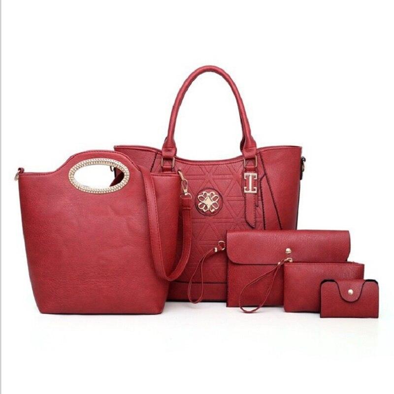 Women casual tote hand bags ladies set bags five pieces fashion travel  shoulder crossbody messenger day clutch sets bag 5pcs
