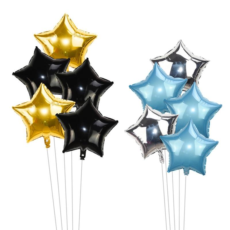 5 Pcs 18 polegada Ouro Prata Folha Estrela Balão Balões De Casamento Do Chuveiro Do Bebê Decoração Balões de Festa de Aniversário Dos Miúdos das Crianças globos