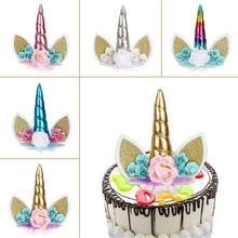 TOPATY Unicorn Horn Ears Eyes Horn For Birthday Cake Toppers Halloween Birthday Party Dessert Table Party Decorations(China)