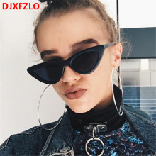 DJXFZLO 2018 new sunglasses  retro colorful transparent small fashion Cat Eye Sunglasses UV400