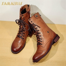 SARAIRIS NEW High Quality Sheepskin Leather Dropship Low Heels Women Boot Female Shoes Women Martin Boots Woman Shoes