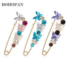 Alloy Rhinestone Brooch For Women Butterfly Colour Crystal Brooches Pins Elegant Female Jewelry Suit Scarf Buckle Cloth Bijoux