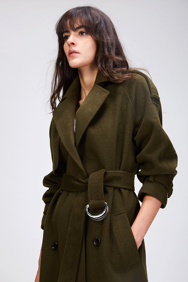 JAZZEVAR 19 Autumn winter New Women's Casual wool blend trench coat oversize Double Breasted X-Long coat with belt 860504 14