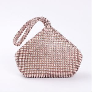 Image 4 - 4 Colors Soft Beaded Women Evening Bag Cover Open Style Lady Wedding Triangle Glitter Handbag Purse Bag For New Year Gift Clutch