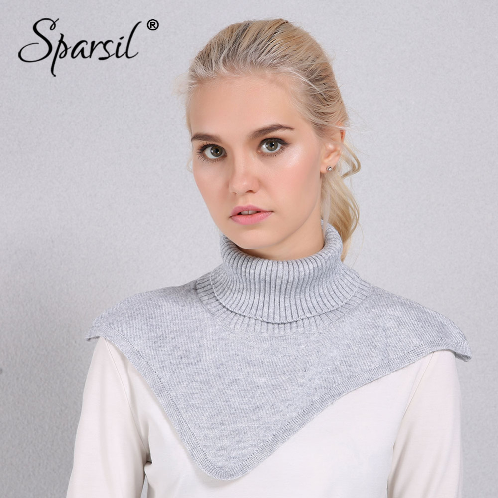 Sparsil Women Autumn Winter Turtleneck Knitted Cape Ring Scarf Irregular Design Solid Color Knitting Pullover Warm Soft Scarves