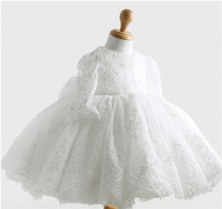 Winter White Newborn Baby Girl Lace Christening Baptism Gown 1 Year