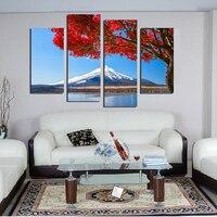 Kırmızı yapraklar karlı dağlar Manzara Resimleri Modern peyzaj tuval resimlerinde 4 paneller duvar sanatı resimleri çerçevesiz