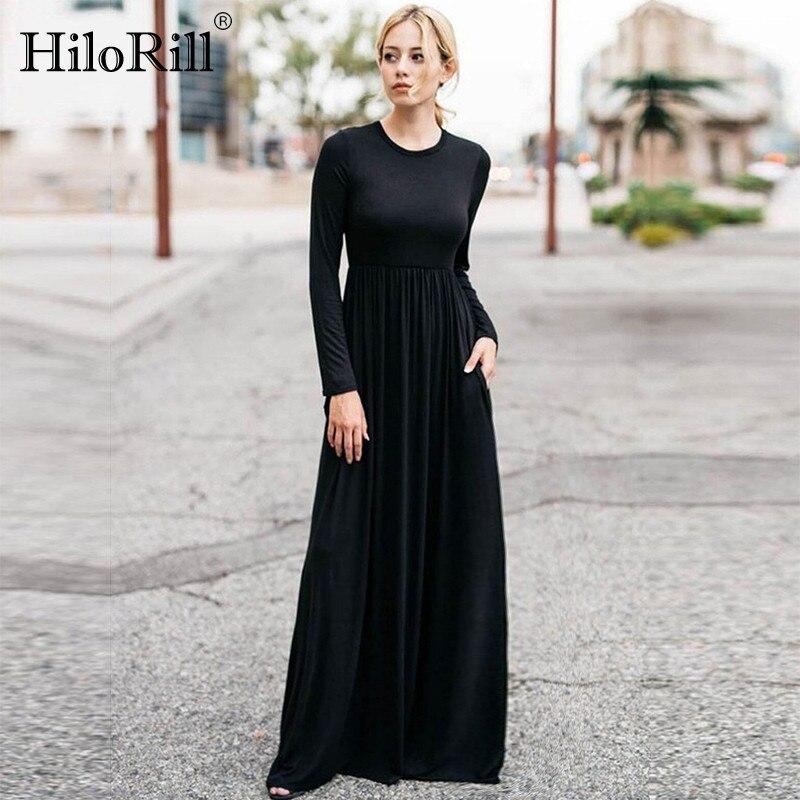 2019 casual elegante longo maxi vestido feminino sólido o-pescoço manga longa bodycon vestido de festa boho praia vestido túnica longo