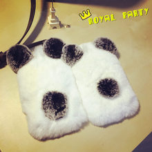 Newest Luxury Quality Real Rabbit Fur Phone Cases For Samsung Galaxy S7/6/5/4 Rabbit Fur Panda Bear Ear for iPhone 7 6s Plus 5s