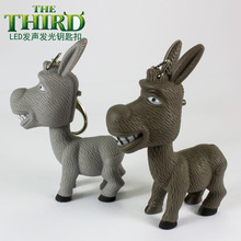 new cartoon donkey luminous key chain Creative animal flashlight led key rings gift pendant wholesale BS-306