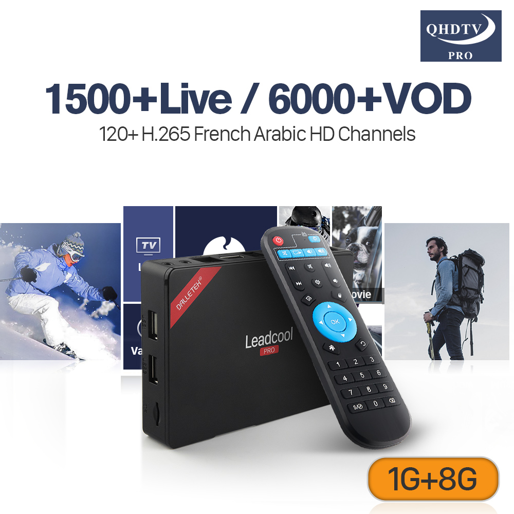 Arabic IP TV 4K Leadcool Pro RK3229 Android 7.1 1G RAM+8G ROM QHDTV Pro Subscription IPTV French Code IPTV H.265 Decoder IP TV