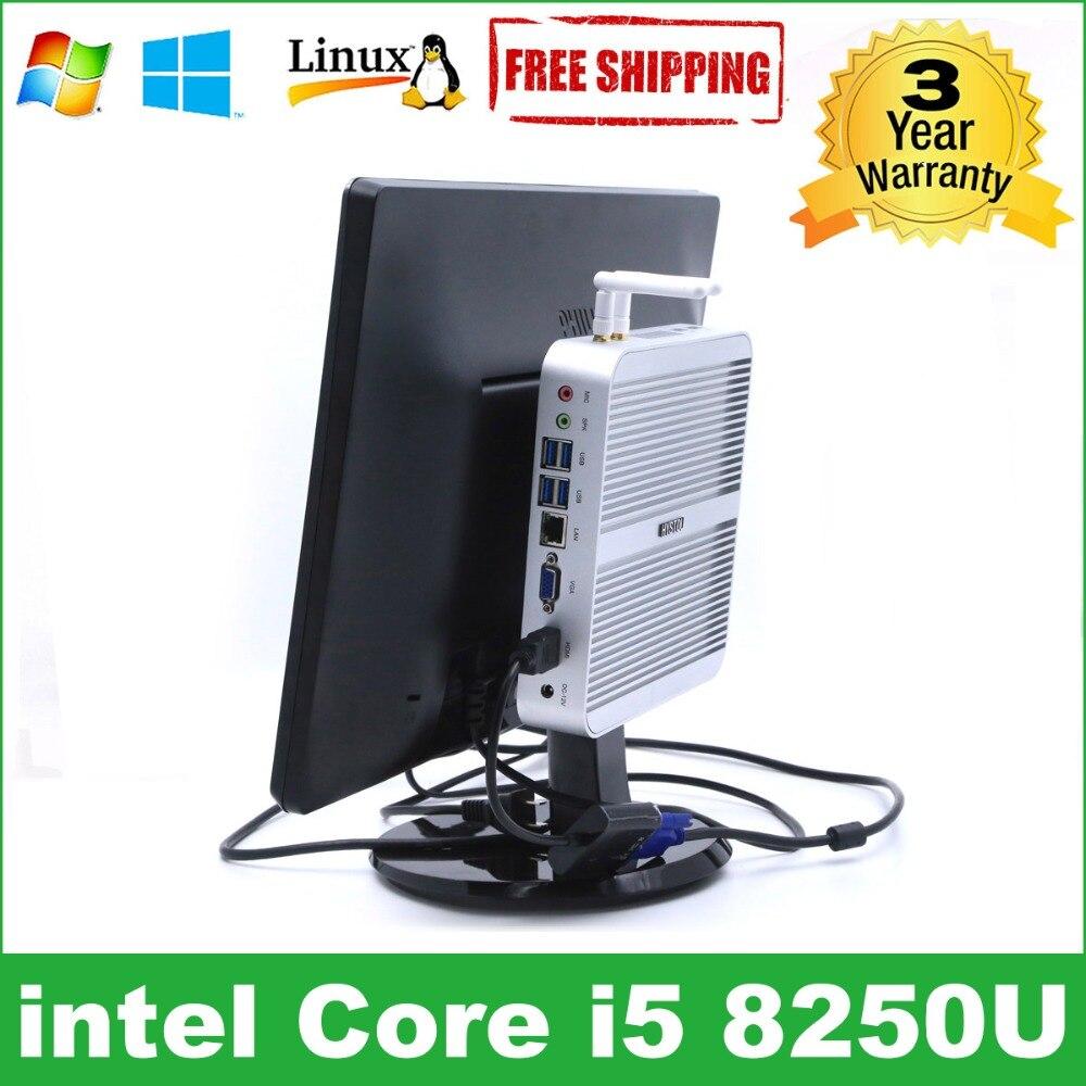 Intel Core I5 8250U Minipc 7260U HYSTOU Kaby Lake Fanless Mini PC Windows Computer